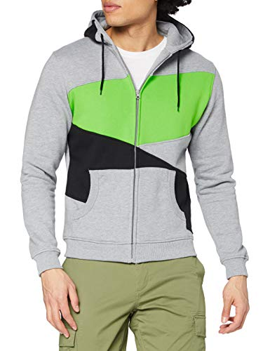 Urban Classics Bekleidung Zig Zag Hoody Pull, Multicolore (Grey/Black/Limegreen), (Taille Fabricant: Large) Homme