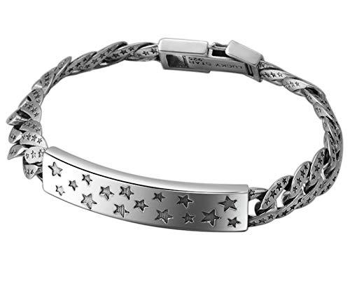 XIRENZHANG Pulsera de plata de ley S925, cadena de personalidad, parejas simples hombres y mujeres, moda estrella y popular pulsera joyas (18 cm, 20 cm) 18 cm