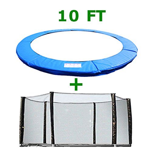 Greenbay Trampoline Replacement Safety Spring Cover Padding Pad + Safety Net Enclosure Surround Outside Netting 10 FT Foot Blue for 6 poles Trampoline