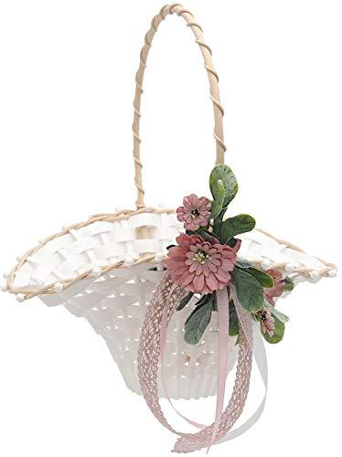 ZauberDeko Blumenkörbchen Hochzeit Vintage Streukörbchen Creme Rosa Blumenkind MIA