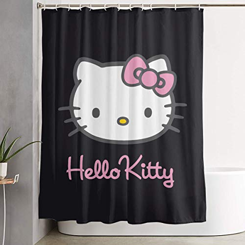Stylish Shower Curtain Black Hello Kitty Printing Waterproof Bathroom Curtain 60 X 72 Inches