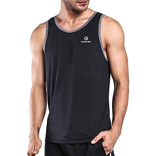 Ogeenier Men's Dry Fit Workout Tank Tops Muscle Gym Sleeveless T-Shirts Fitness Bodybuilding Running Tank Top Shirt,Black,L