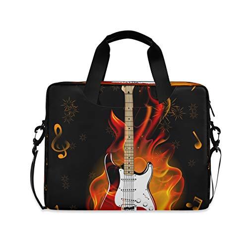 Laptoptasche, Musiknoten, brennende Gitarre, Feuerwerk, Aktentasche, Computer-Tragetasche, 40,6 cm (16 Zoll), Schutzhülle mit Griff, mehrere Taschen, niedliches Design