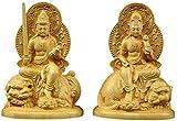 HYBUKDP Estatuas La decoración del hogar artesanía boj Zen Buda Estatua de la Figura Adornos Samantabadra con Manyushri Esculturas Set, Diosa de la Misericordia del Ministerio del Interior Decoración