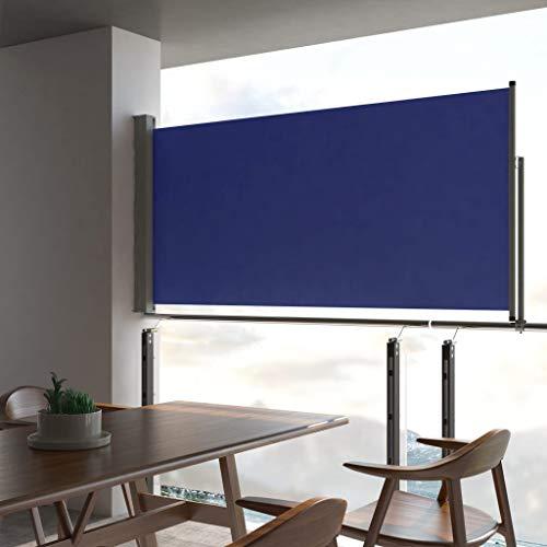 Tidyard Seitenmarkise Seitenwandmarkise Ausziehbar Seitenrollo Balkon Terrasse und Garten Reißfestigkeit Seitlicher 120 x 0-300cm Blau