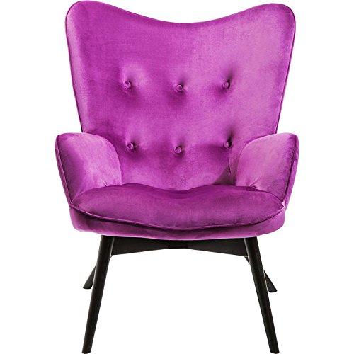 KARE Design Sessel Vicky 82662 mit Armlehnen, Ohrensessel mit Samt Bezug, Polstersessel in Violett, Pflegeleichte Oberfläche, Füße aus massiver Buche lackiert, 59x63x92cm
