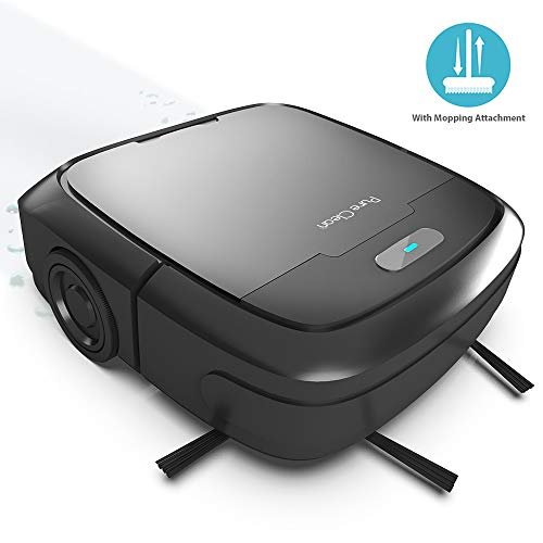 PURE CLEAN PUCRC50 Robot Vacuum - Automatic Mopping Robotic Cleaner with Water Tank Mop Attachment - Low Profile Home Cleaning Vac Spot Cleans Hardwood and Tile Floor - V2