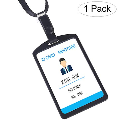 Aluminum Badge Holder with Detachable Neck Lanyard/Strap for ID Card, Working Card, Name Tag (Black)