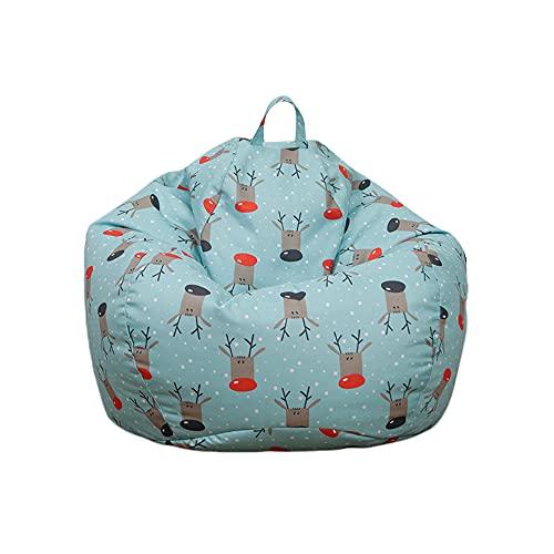 Qtinghua Christmas Bean Bag Cahir Covers, Soft Furniture Beanbag Cover No Filler, Stuffed Animals Storage Solution (Light Blue, 60cm*75cm)