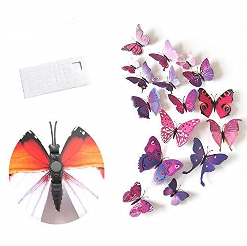 AKAMAS 12 pegatinas magnéticas creativas 3D para nevera, simulación estéreo, mariposa, nevera, pegatinas de pared, se pueden utilizar para decoración de boda pequeña e interesante decoración
