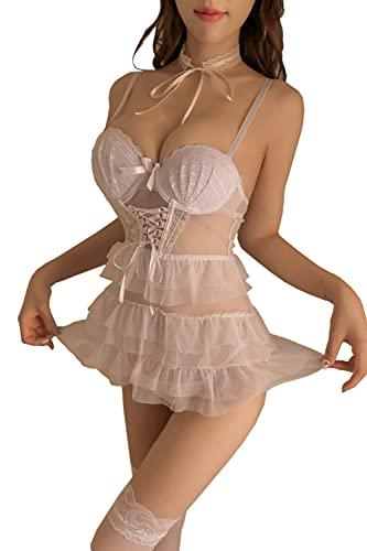 Kawaii Costumes for Women Cute Mesh Dance Dress Lace Lingerie Set Lolita Princess Cosplay (Blanco)