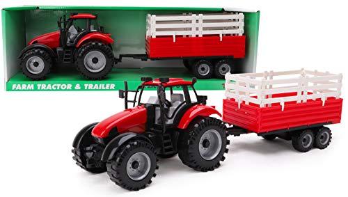 TOYLAND® Tractor agrícola con fricción roja y Remolque -