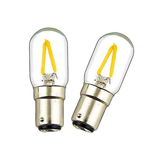 Luxvista 2-PCS 2W BA15D LED Filament Ampoule Double Contact Baïonnette SBC 150LM 200-240V d'Ampoule de COB pour la Machine à Coudre/Lampes d'appareil Blanc Chaud 2700K