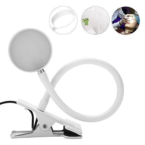 USB Tattoo Lampe Schönheit Kaltlicht Lupenleuchte, Tragbarem Clip Schreibtisch Leuchte für Augenbraue Tattoo Maniküre Wimpernverlängerung Lesen(Silber)