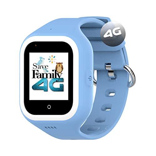 Reloj-Smartwatch 4G Iconic con Videollamada & GPS instantáneo para niños SaveFamily. Reloj con WiFi, Bluetooth, cámara, identificador de Llamadas, Boton SOS Waterproof Ip67. Azul