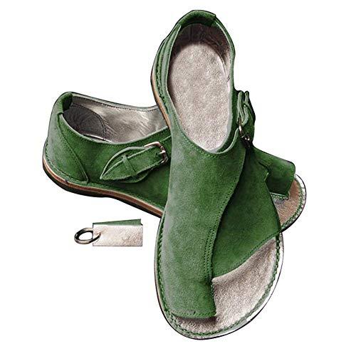 Huaheng Mujer Cómodo Plataforma Sandalia Juanete Corrector Playa Viaje Zapatos para el Verano - Verde, 35