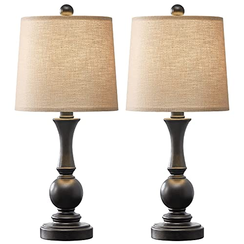 PoKat 19' Farmhouse Table Lamp Sets of 2 for Bedroom Living Room Vintage Bedside Nightstand Lamp Rustic Table Lamps Resin Black