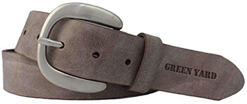 Green Yard Exklusiver Samtweicher Damen Ledergürtel, 4 cm Breite, Smog, 100 cm (Gesamtlänge 115 cm)