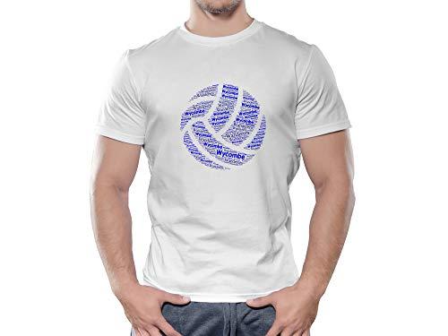 Wycombe Wanderers FC Novelty Football Ball T Shirt, (Large)