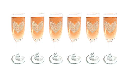 Celtic Heart Champagne Flutes Set of Six: Free Personalized Engraving