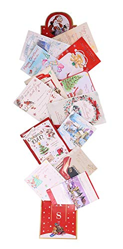 Toyland 35-Zoll-Weihnachtskartenhalter - Traditionelle Kartenhalter - Rot mit Santa-Design