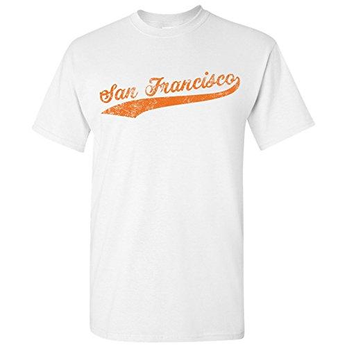 San Francisco City Baseball Script Basic Cotton T-Shirt - 2X-Large - White