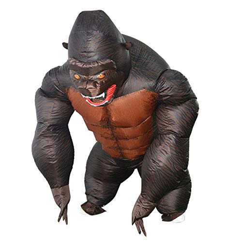 Inflatable Gorilla Costume Halloween Parent-Child Black King Kong Cosplay Blow Up Costume-Adult Child Size-Child