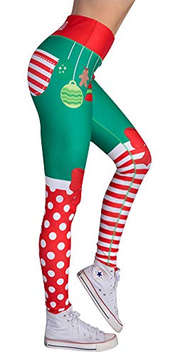LIWEIKE Damen Leggings mit Digitaldruck, Weihnachtsmuster, Leggings - Rot - US (X-Small - Small)