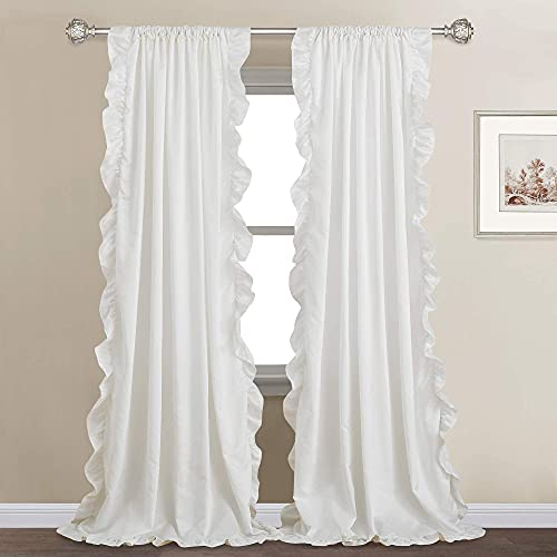 StangH White Ruffle Curtains for Bedroom - Shabby Chic Ruffle Trim Faux Silk Curtains Privacy Drapes for Dining Room / Bathroom / Canopy Bed, White, W52 x L84 inches, 2 Panels