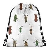 Yuanmeiju Four Beetles Drawstring Backpack Bag Lightweight Gym Travel Yoga Casual Snackpack Shoulder Bag for Hiking Swimming Beach
