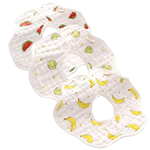 TOSSPER 3 Unids Baberos Bebé 360 Grados Rotación 8 Capas Gasa Muselina Bebé Niños Bandana Burp Tela Recién Nacido Bebé Saliva Toalla
