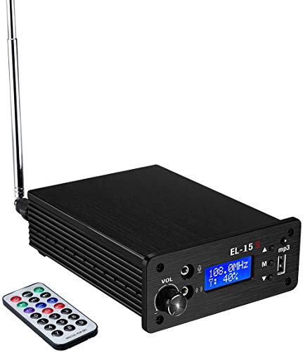 7W FM Transmitter for Church, 76-108MHZ FM Radio Transmitter with Remotes, Full Band High Wireless Radio Station with Antenna,Up 4000Feet Distance,Built-in MP3 Playback, LCD Liquid Crystal Display