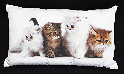 """Kissen """"Kätzchen"""" weißer Grundstoff, Vorderseite bedruckt mit niedlichem Katzenmotiv, verdeckt eingearbeiteter Reißverschluss auf der Rückseite, Bezug und Füllung 100% Polyester"""