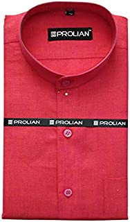 PROLIAN Men's Linen Pink Solid Formal Shirt