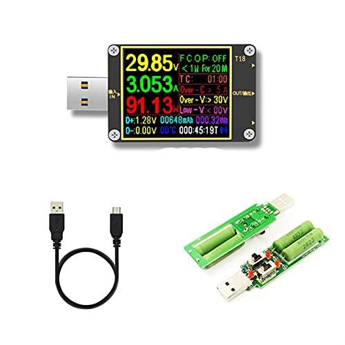 MCYAW 18 en 1 USB Tester T18 Voltímetro Digital Ammeter VOLTIMETRO DC...