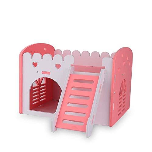 Hamster Haus Hamster Hideout Haus aus Holz Wohn Hut Kleintiere Übung Lustige Nest Spiel kaut Spielzeug Cages Pens (Farbe: Blau, Größe: 22x18x16cm) ZHANGKANG (Color : Pink, Size : 22x18x16cm)