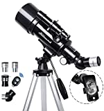 Telescope 70mm Aperture 500mm - for Kids & Adults Astronomical refracting Portable Telescopes AZ Mount Fully Multi-Coated Optics, with Tripod Phone Adapter, Wireless Remote, Carrying Bag