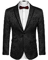 COOFANDY Mens Fashion Black Lapel Suit One Button Tuxedo for Banquet Wedding