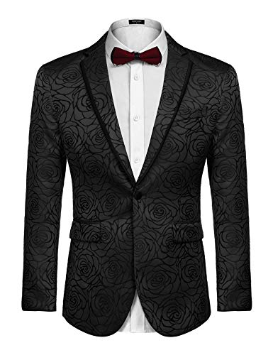 COOFANDY Men's Floral Print Suit Dress Suit Red Lapel Blazer Tuxedo Coat