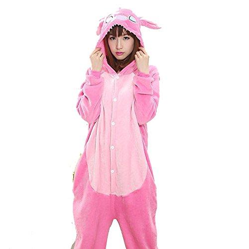 Kigurumi - Disfraz con forma de animal para carnaval, Halloween o espectáculos, fiestas de Navidad, cosplay o pijama, prenda de invierno unisex Stitch Rosa 2 XS