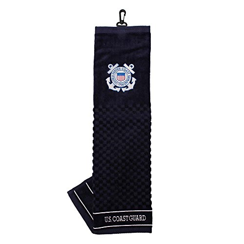Team Golf Military Coast Guard Embroidered Golf Towel, Checkered Scrubber Design, Embroidered Logo