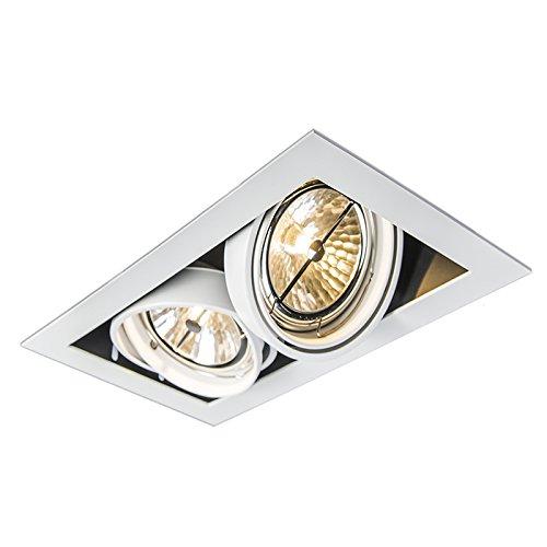 QAZQA Diseño Foco empotrado blanco orientable 2-luces - ONEON 111-2 Acero Rectangular Adecuado para LED Max. 2 x 50 Watt