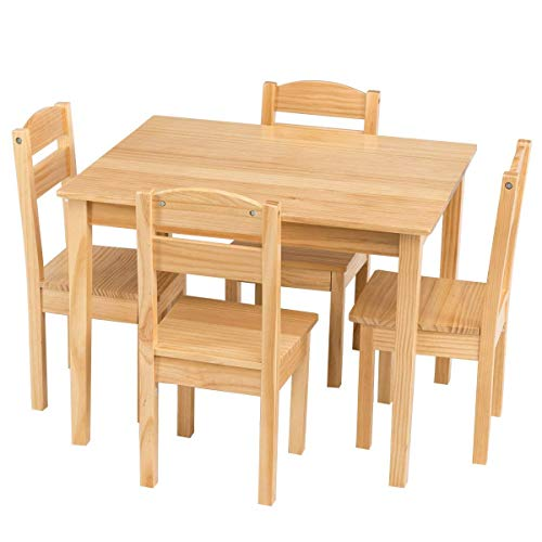 Casart Kids Wooden Table and Chairs, 5 Pieces Set Includes 4 Chairs and 1 Activity Table, Picnic Table with Chairs (Natural)