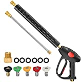 STYDDI Power Washer Gun Kit, Replacement Pressure Washer Gun with 33 Inch Extension Wands and 5 Nozzle Spray Tips, M22 Connector, 41 Inch, 4000 PSI