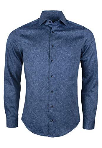 Roy Robson Herren Hemd aus Baumwolle mit Alloverprint Langarm - Slim Fit, (Dunkelblau) XXL