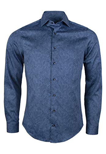 Roy Robson - Camicia da uomo in cotone con stampa allover a maniche lunghe, slim fit Blu scuro XL