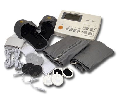 Digitales Reizstromgerät mit Wärme- & Magnetfeldtherapie EA-F21 - 4 Therapien in einem Gerät - inkl. Massage-Slipper, vielen Elektroden, Thermo-Therapiegurten + umfangreiches Zubehör. 2. Wahl mit beschädigter Verpackung