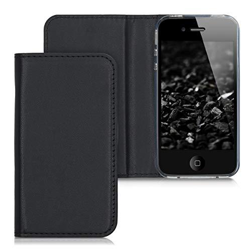 kwmobile Funda Compatible con Apple iPhone 4 / 4S - Carcasa con Tapa Tipo Libro para móvil - Case en Negro Mate
