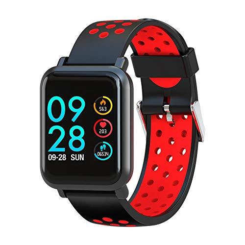 Reloj con Monitor de sueño, Pulsera Inteligente a Prueba de Agua, Control de música a Prueba de Polvo para monitorear el sueño Necesidades diarias(Black Red)
