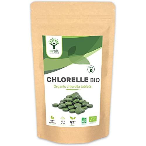 Chlorella Bio - Bioptimal - Complément Alimentaire - Protéine Vitamine B12 - 100% Poudre Chlorelle Pure - Compressé à froid - 500mg / Comprimé - Conditionné en France- Certifié Ecocert - 150 comprimés